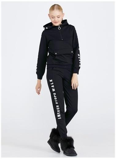 Sementa Sementa Desenli Triko Güneş Kadın Eşofman Takımı Siyah